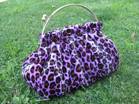 Purse in Purple Leopard Faux Fur with 10 Inch Frame