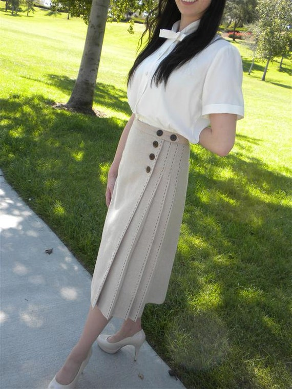 1940s Style Wrap Skirt With Pleats and Hand Stitching