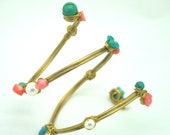 Coral  and turquoise cuff  and armlet