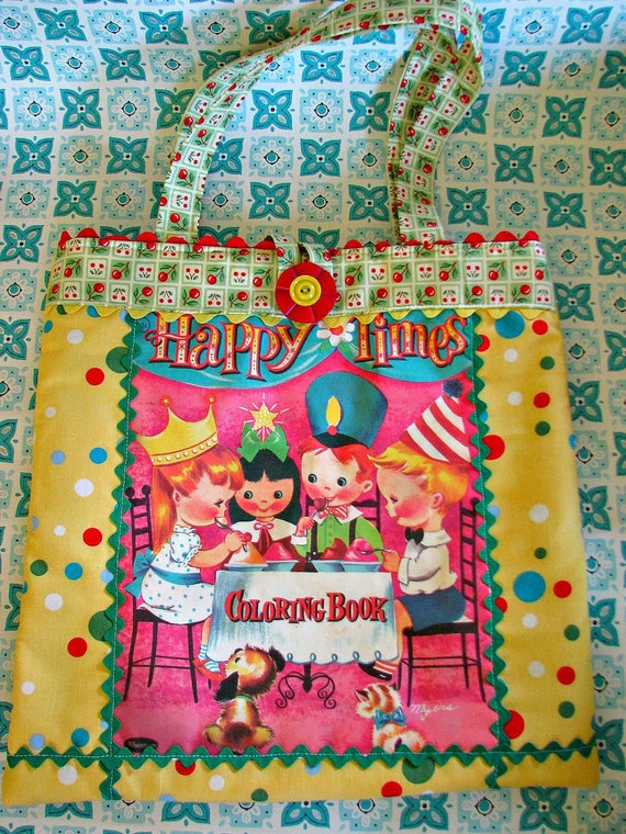 Vintage Coloring Book Tote with Sweet Childrens Birthday Party