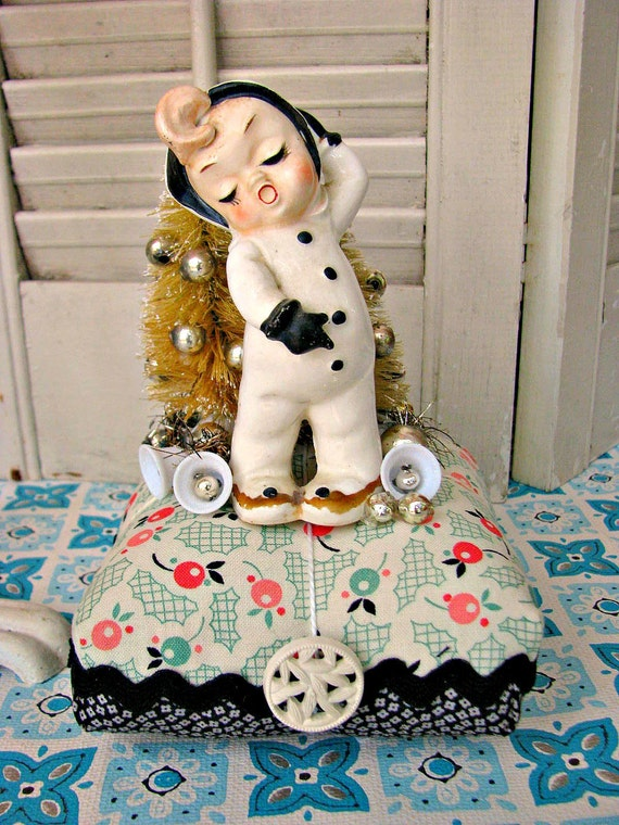 Vintage Silly Snow Kid Pin Cushion Holiday Decoration