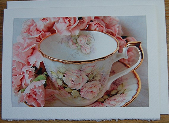 Blank Note Card, Pink Carnations Teacups Photo Note Card, Greeting Card, Mother's Day Card