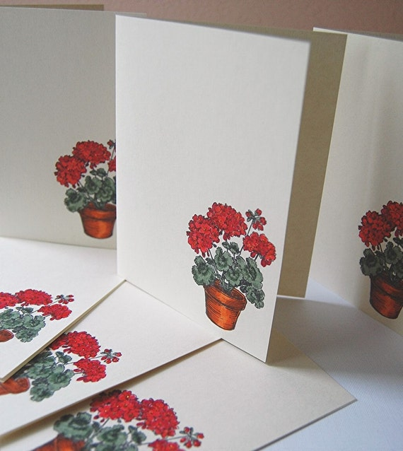 40% OFF, Blank Note Cards, Red Geraniums Note Cards, Handstamped, Greeting Cards, Set of 6