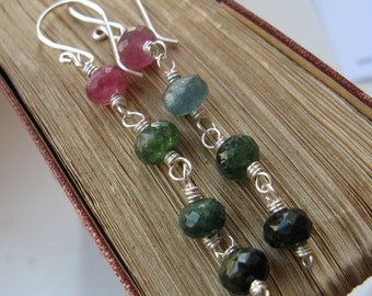 Shaded Sterling Silver and Tourmaline Earrings