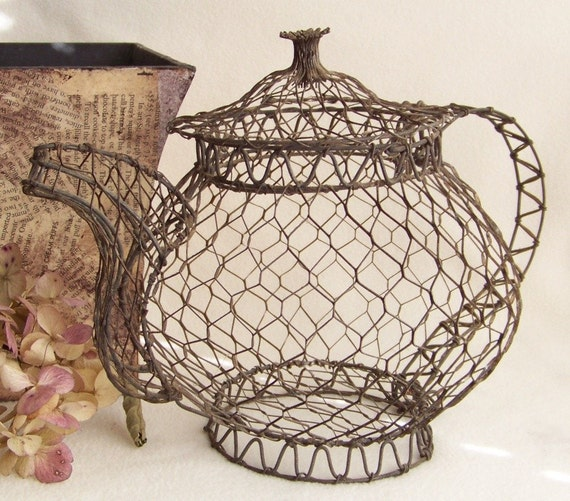 shabby chic chicken wire teapot country chic