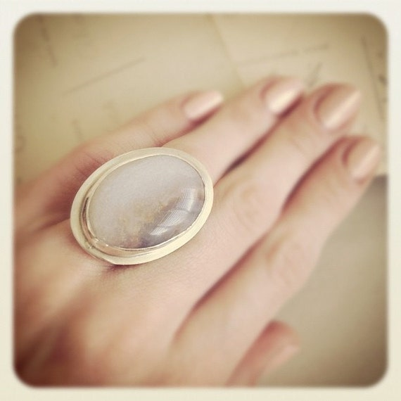 Sterling Silver White Lace Agate Stone Ring -  Cocktail ring - Gemstone Ring - Silver Ring - Size 7