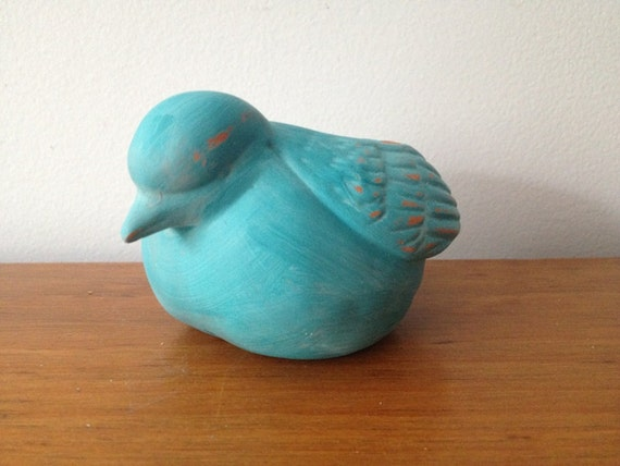 Turquoise Bird animal planter - Terra Cotta Hand Painted - Shabby Chic - succulent or air plant planter