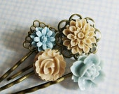 Powder...................Blue and Taupe Flower Hair Pins