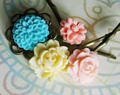 HALF OFF SALE Hawaiian Tropics...........Flower Brass Hair Pins