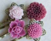 Mixed Berries..............Sweet Flower and Brass Hair Pins