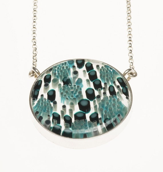 teal peacock Necklace