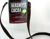 Chocolate Lovers Upcycled Cocoa Brown Canister Shoulder Strap Purse
