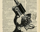 Medical Microscope X-Rays medical instruments and tools antique print on old book page