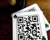 QR code - Irish Drink Coaster - Kiss me I'm Irish - Coasters - Saint Patricks Day Drink Holder Wood Coaster set Shamrock