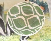 Ceramic bowl/  grass  green mod pattern READY TO SHIP