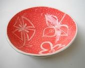 Ceramic Serving bowl Coral, Pink and Turmeric
