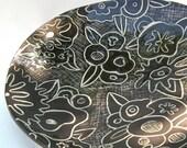 Round Ceramic  Platter- Black Floral