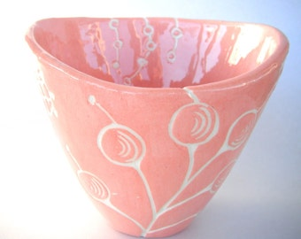 Handmade pottery ceramic soup bowl, botanical motif