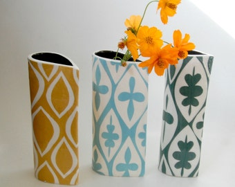 Turquoise Floral geometric pattern vase