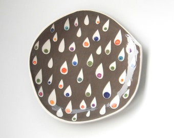 Dessert plate grey with colorful teardrops
