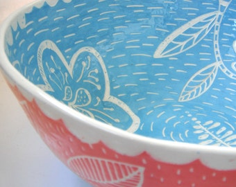 Hand made Ceramic Large 12 inch Salad Serving Bowl- Bright Blue and Salmon Pink