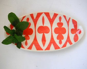 Oval ceramic dish/ coral  ellipse pattern MADE TO ORDER