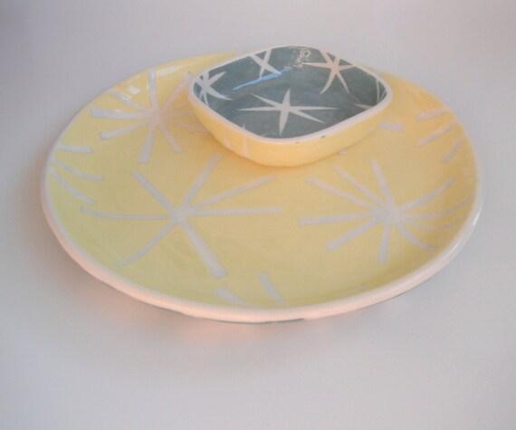 SALE Salad plate with sauce dish, yellow and aqua star motif