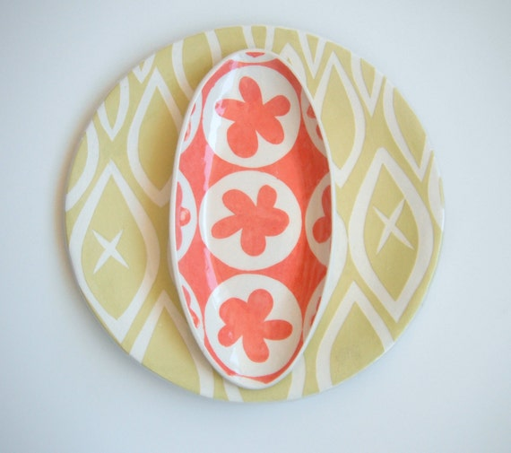 Oval ceramic dish/ coral  flower pattern MADE TO ORDER