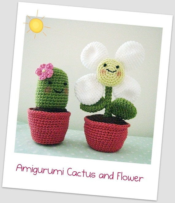 Amigurumi Cactus and Flower Crochet Pattern by CottonCloths