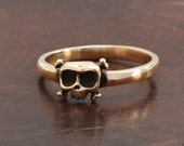 Baby Skull Ring, 'Louie' in 14KT Gold Engagement - women ring - Wedding - gift for her - Free shipping in the US