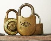 3 Vintage Brass Padlocks - no keys or combination
