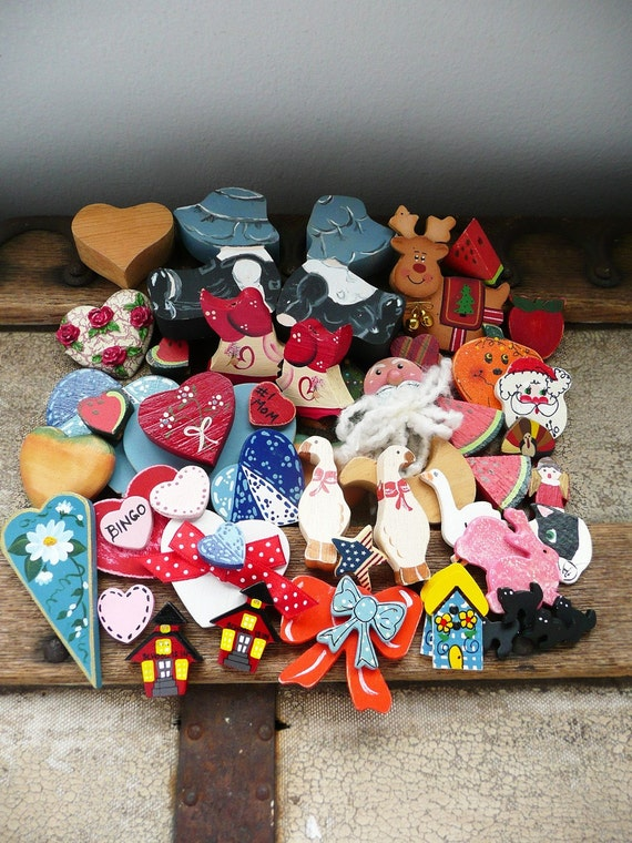 Lot of 50 Painted Wood Embellishments - hearts, holiday, animals