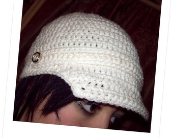 Crochet Pattern Brim Newsboy Hat Under Two Hour Crochet PDF Pattern Instant Download