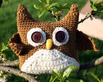 Crochet Owl Pattern Directions for an Amigurumi Owl Crochet Woodland Toy Plush Pillow