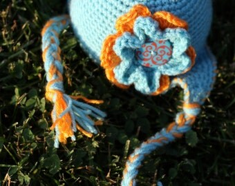 Pattern for a Crochet Little Blue Earflap Hat for Baby, Infant and Toddler in 4 Sizes Photo Prop PDF