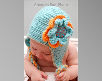 Crochet Pattern Little Blue Earflap Hat for Baby, Infant and Toddler in 4 Sizes Photo Prop PDF Instant Download