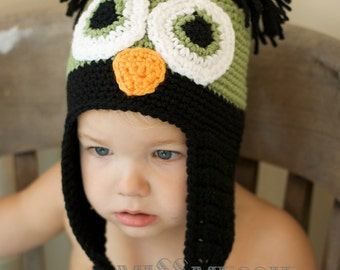 Instant Download Crochet Pattern Directions for Making a Crochet Boys Owl Earflap Hat  Infant and Toddlers Photo Prop Woodland Animal