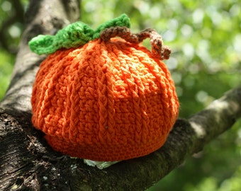 Instant Download Crochet Pattern for an Orange Pumpkin Hat  Photo Prop PDF Fall Halloween Dress Up