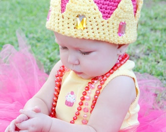 Pink and Yellow Jeweled Princess Crown Hat for Children Custom Order