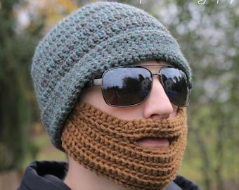 Crochet Hat with Beard Pattern Adult Teen Beard Hat Skiing Snowboarding Outdoor Winter Hunting Urban Men