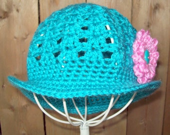 Instant Download Crochet Pattern Brimmed Sun Hat for Babies and Toddlers with Changeable Flower in  PDF Summer Sun Hat