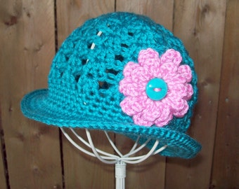 Spring Baby Hat Crochet Pattern Brimmed Sun Hat for Babies and Toddlers with Changeable Flower in  PDF Summer Sun Hat
