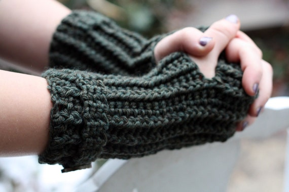 Pattern Directions for Making Fingerless Gloves Mittens Ribbed Wrislets Crochet PDF Pattern Instant Download
