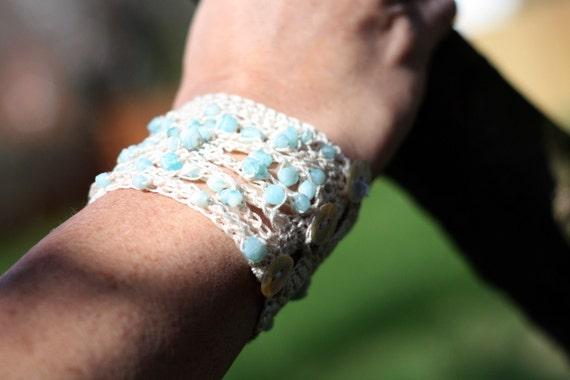 Crochet Pattern For a Beachy Blue Beaded Bracelet PDF Instant Download Bracelet Jewelry Beach Summer Spring