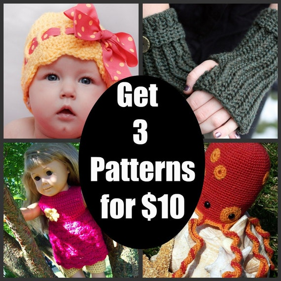 Any 3 Crochet Patterns-Lots of Pictures and Basic Stitches-Hats, Gloves, Animals, Photo Props