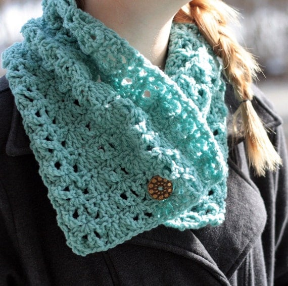 Lacy Cowl Neck Warmer Crochet PDF Pattern Instant Download Adult Teen