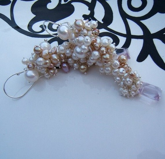 RESERVED LISTING for Elizabeth - Pearl Waterfall Earrings by Sandra Eileen - Iolanthe