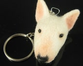 White Bull Terrier Keychain Fob - Needle Felted Dog Key Chain SALE