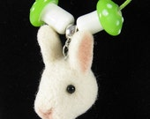 Alice in Wonderland Necklace - White Rabbit Pendant, Needle Felted Necklace