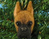 Boxer Christmas Ornament - Needle Felted Boxer Dog Ornament